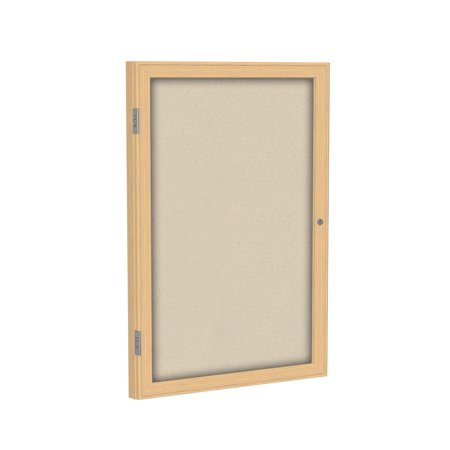 PW12418F-90 Ghent 1 Door Enclosed Fabric Bulletin Boards with Oak Wood Frame Wall Mounted TackBoard, 24 in H x 18 in W, Beige