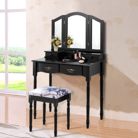 Costway Black Tri Folding Mirror Vanity Makeup Table Stool Set bathroom W/4