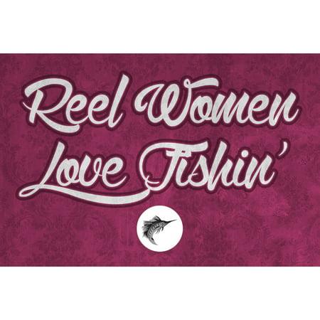 Aluminum Metal Reel Women Love Fishin Wall Shelf Decor Fishing Sign ...