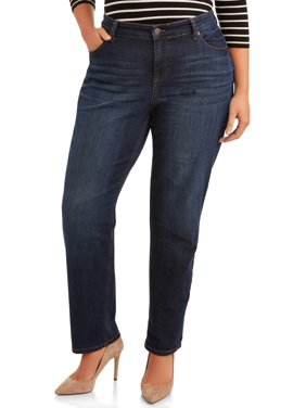 Terra & Sky Women's Plus Size Repreve Classic Straight Leg Jeans with Tummy Control