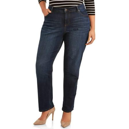 Terra & Sky Women's Plus Size Repreve Denim Classic Straight Leg Jean with Tummy Slimming Panel