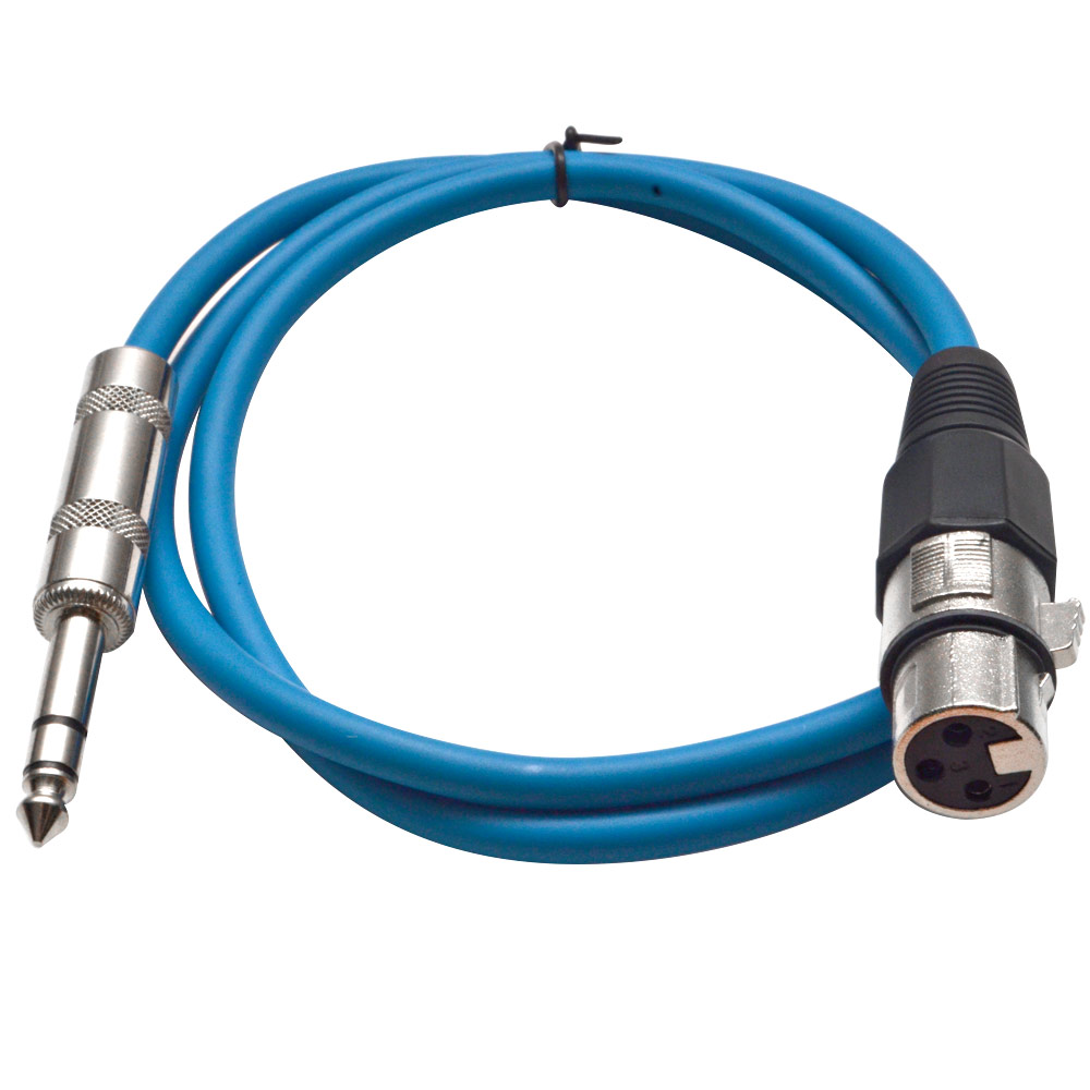"Seismic Audio  Blue 1/4"" TRS - XLR Female 3' Patch Cable Blue - SATRXL-F3Blue"