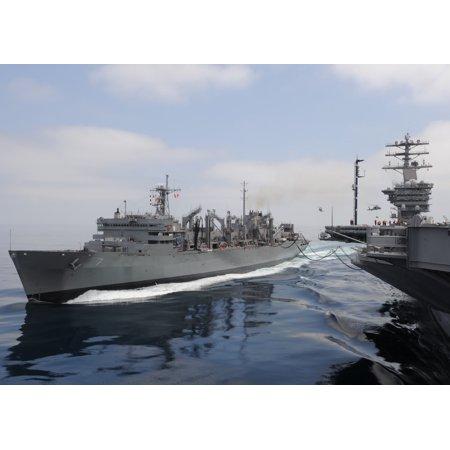 Military Sealift Command Ships - LAMINATED POSTER The Military Sealift Command fast combat support ship USNS Rainier (T-AOE 7) pulls alongside the air Poster Print 24 x 36