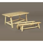 """68"""" Outdoor Dining Natural Cedar Log-Style Wooden Picnic Table & Benches Set"""