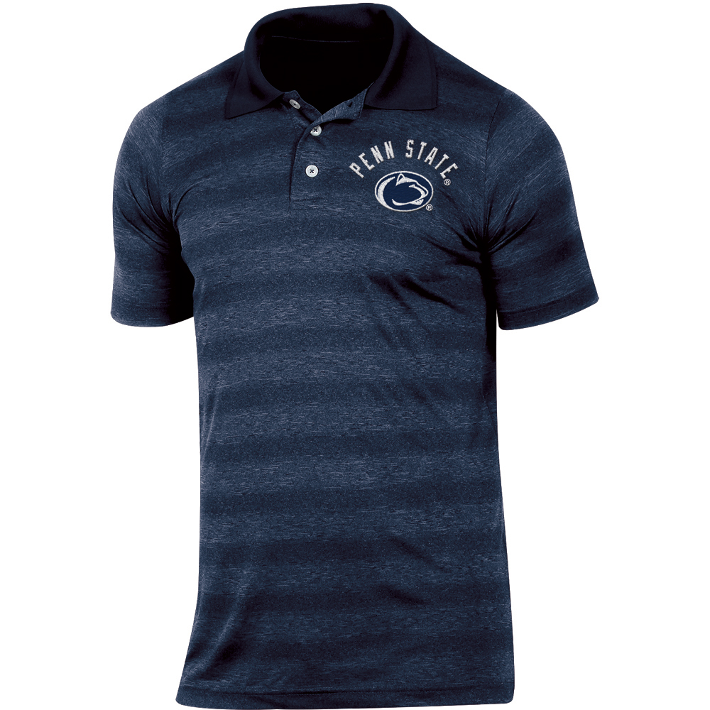 Men's Russell Navy Penn State Nittany Lions Classic Fit Striped Synthetic Polo