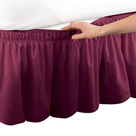 Bed Skirt Pins Walmart.Collections Etc Elastic Bed Wrap Ruffle Bed Skirt Twin Full Burgundy
