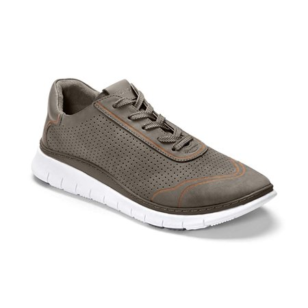 Vionic Women's Fresh Riley Lace Up Perforated Nubuck Leather Athletic Shoes Grey (6.5W)