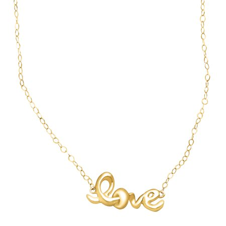 Just Gold Petite Expressions 'Love' Script Necklace in 14kt Gold