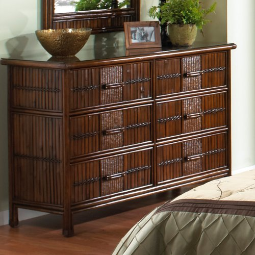 Hospitality Rattan Polynesian Six Drawer Dresser - Antique