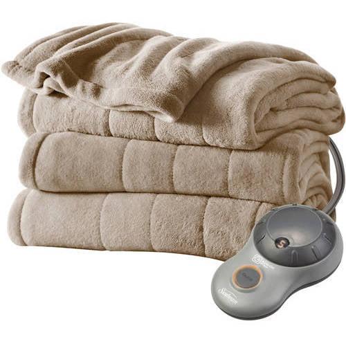 Sunbeam Electric Heated Plush Blanket, Twin, Mushroom (BSM9GTSR77222A4)