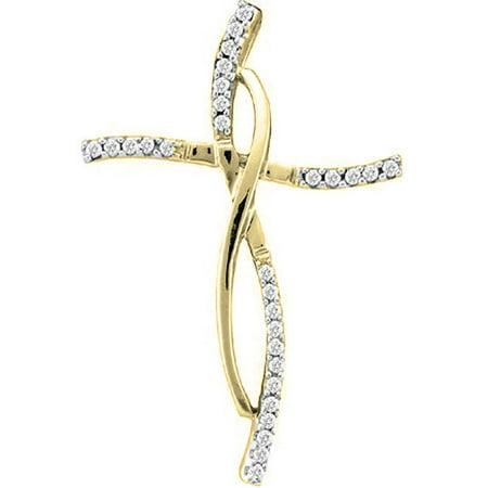 0.12 Carat (ctw) 18K Yellow Gold Round White Diamond Ladies Cross Pendant