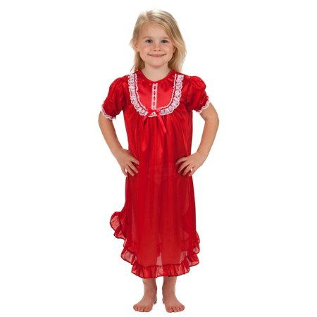 Pink Nightgown Girls (Laura Dare Solid Colors Short Sleeve Traditional Nightgown for Girls, 4 -)