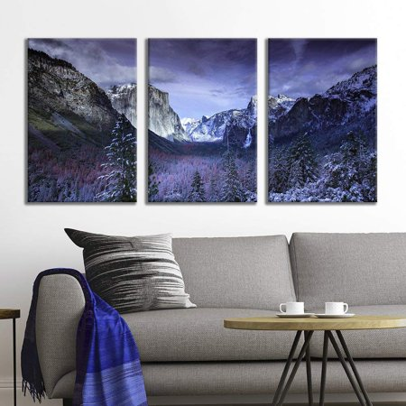 wall26 - 3 Panel Canvas Wall Art - Majestic Natural Landscape Triptych Canvas Series - Yosemite at Dusk - Giclee Print Gallery Wrap Modern Home Decor Ready to Hang - 24