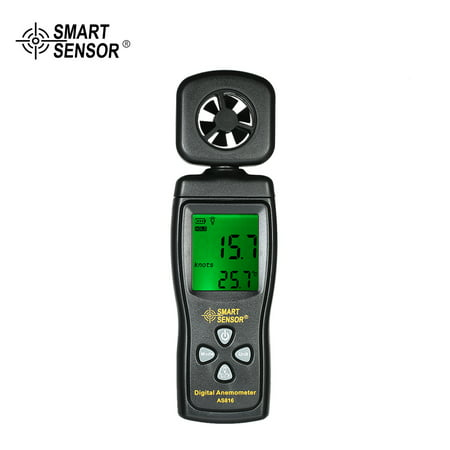SMART SENSOR Mini Anemometer LCD Digital Wind Speed Meter Air Velocity Temperature Measuring with Backlight (Wind Speed Meter)