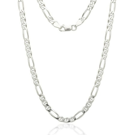 Sterling Silver Small Anchor (Sterling Silver Italian 4.5mm Figarucci Figaro Mariner Anchor Link Solid .925 Necklace Chain 16
