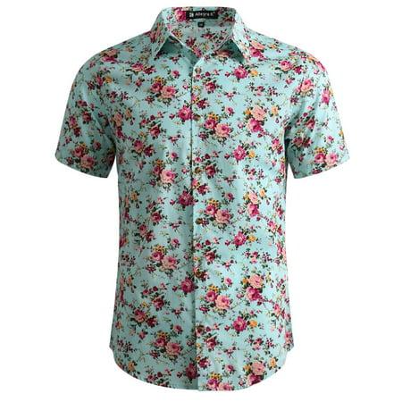 Men's Short Sleeve Button Front Floral Print Cotton Hawaiian Shirt M (US 40) Mint Lightweight Printed Cotton