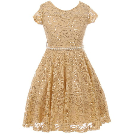 Little Girls Holiday Dresses (Little Girl Cap Sleeve Floral Lace Glitter Pearl Holiday Party Flower Girl Dress Champagne 4 JKS 2102 BNY)