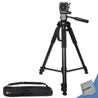 Durable Pro Grade 72 inch Full size Tripod with 3 way Pan-Head, Bubble level ...