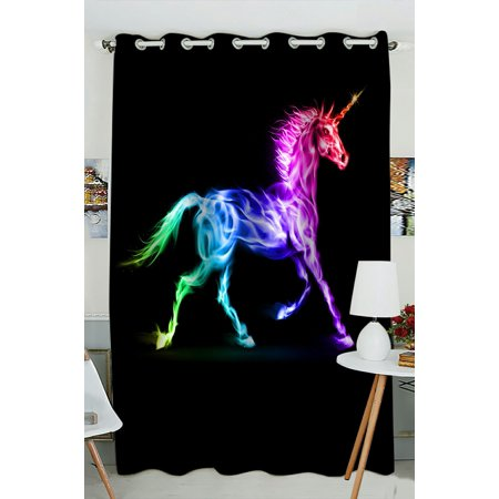 PHFZK Animal Window Curtain, Fire Unicorn Colorful Window Curtain Blackout Curtain For Bedroom living Room Kitchen Room 52x84 inches One Piece ()