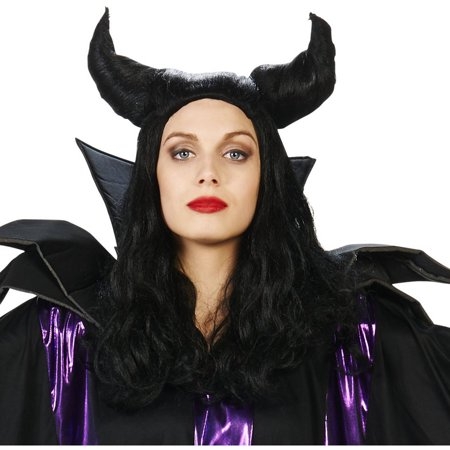 Black Horned Maleficent Adult Wig Halloween Accessory for $<!---->