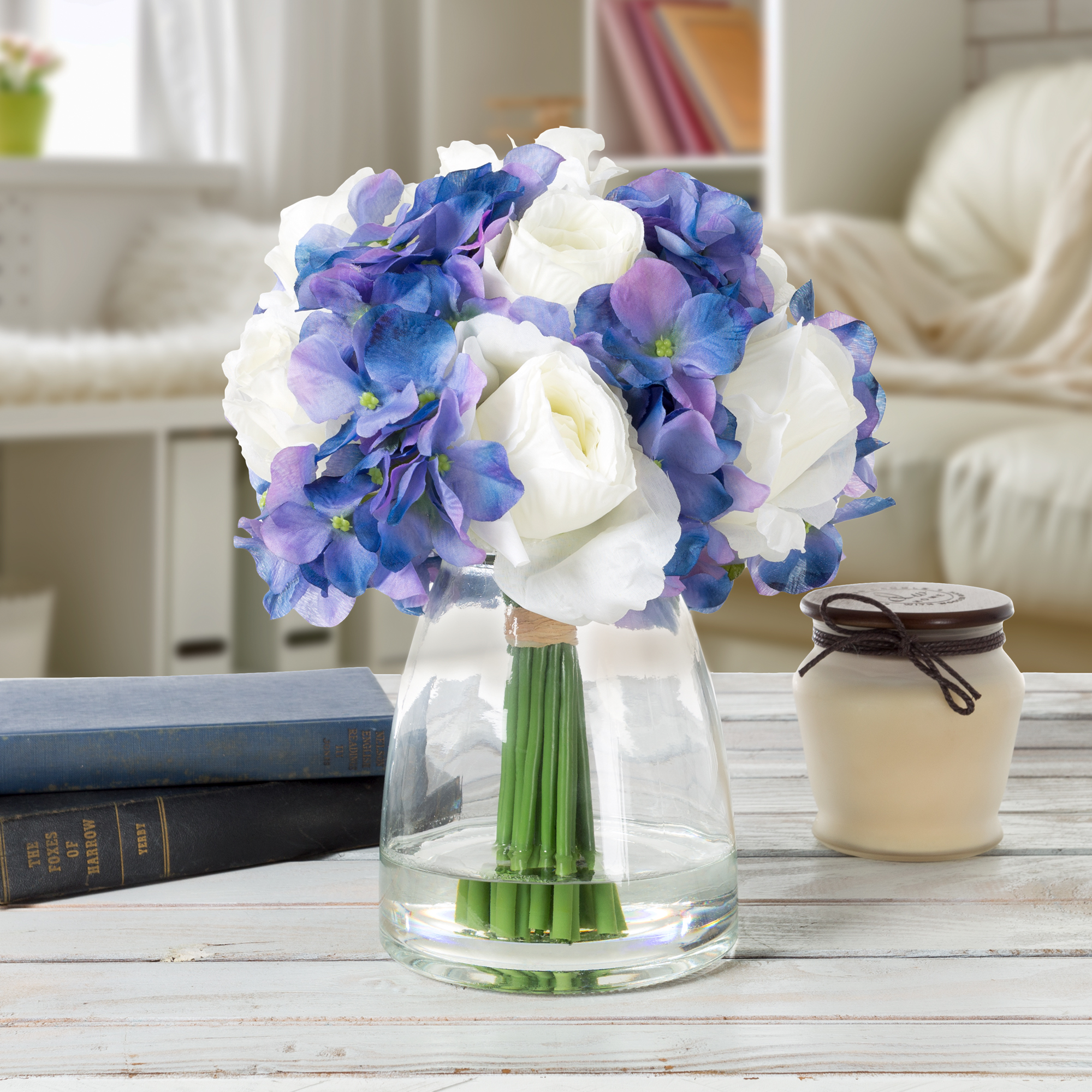 Hydrangea And Rose Artificial Floral Arrangement With Vase And Faux
