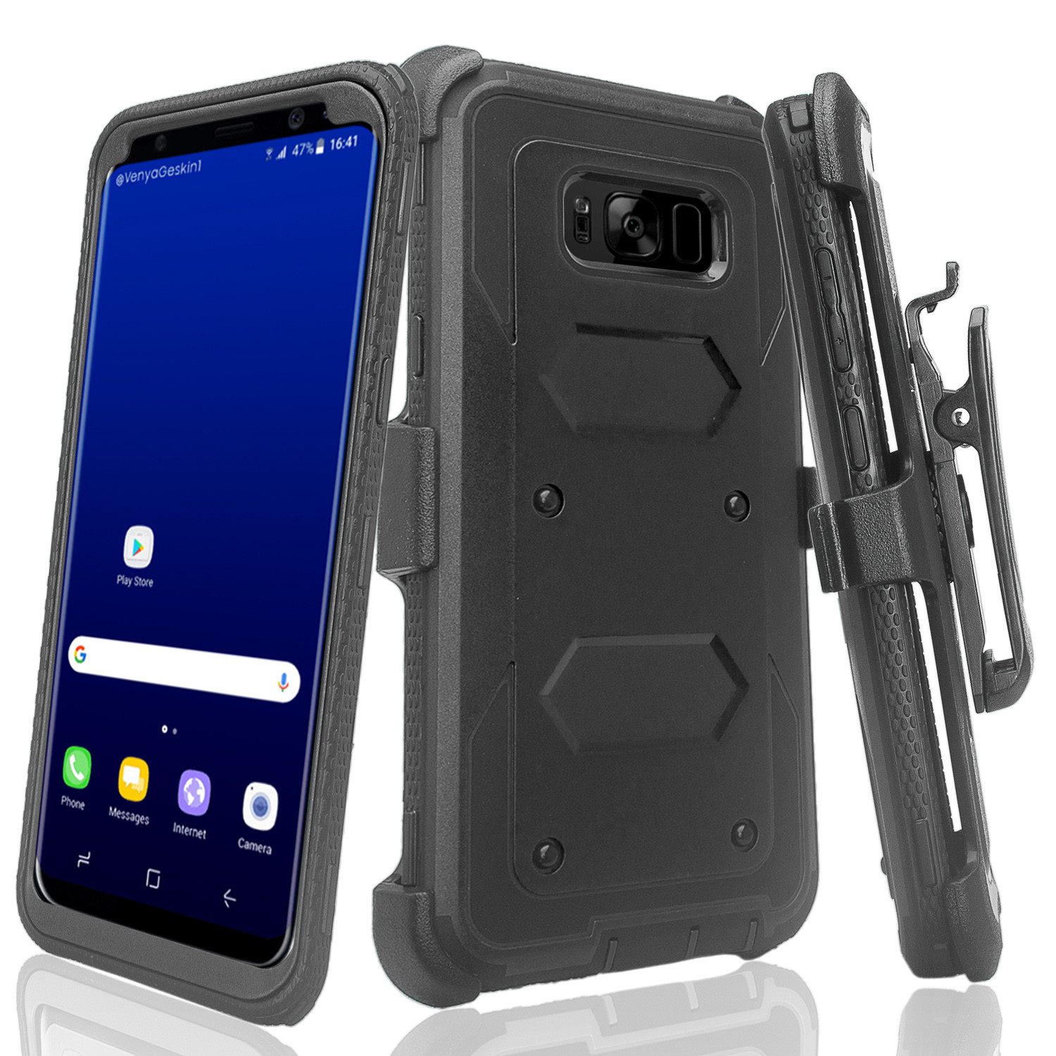 Samsung Galaxy S8 Case, SM-G950 Case, Triple Protection + [Tempered Glass Screen Protector] Heavy Duty Rotating Swivel Holster Shell Combo - Black