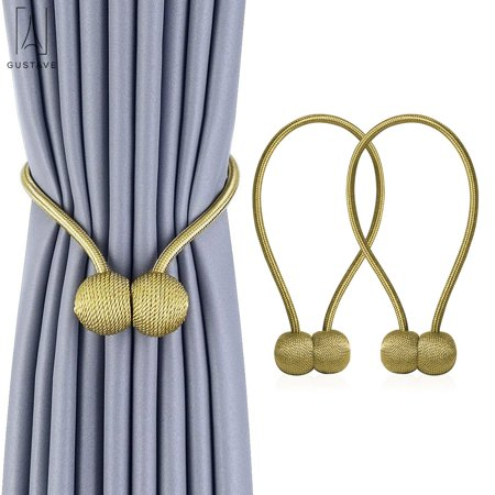 GustaveDesign 2Pack/set Magnetic Curtain Hooks Rope Buckle Tie Backs Holdbacks Drape for Window Sheer and Blackout Drapries Gold ()