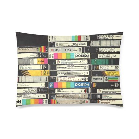 ARTJIA Vhs Stack Deisign Pillowcase Pillow Cover Two Sides Printing 20x30 Inches](Halloween Vhs Cover)