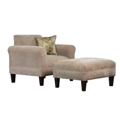 Carolina Accents Tracy Porter Armchair and Ottoman with Accent Pillow by