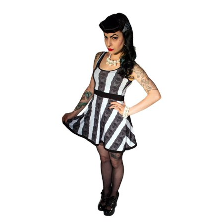 Women's Kreepsville 666 Skull Lace Stripe Penny Dress Gothic Horror Fashion - Large for $<!---->