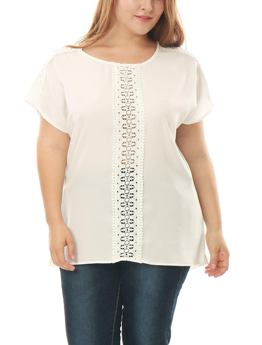 Unique Bargains Women's Plus Size Short Sleeves Crochet Lace Panel Chiffon Tunic Top