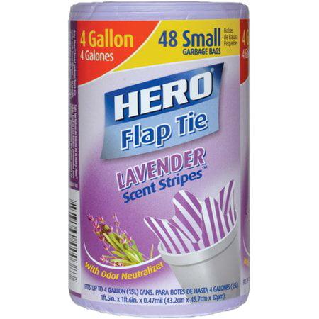 (Pack of 4) Hero Scent Stripes Flap Tie Garbage Bags, Lavender, 4 Gallon, 48 - Garbage Bag Costumes