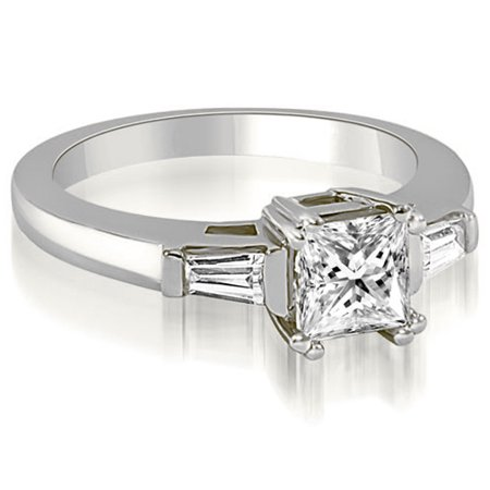 0.65 CT.TW Princess Baguette Three Stone Diamond Engagement in 14K White, Yellow Or Rose Gold