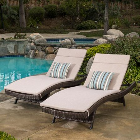 raleigh outdoor brown wicker adjustable chaise lounge with textured beige colored cushions set. Black Bedroom Furniture Sets. Home Design Ideas