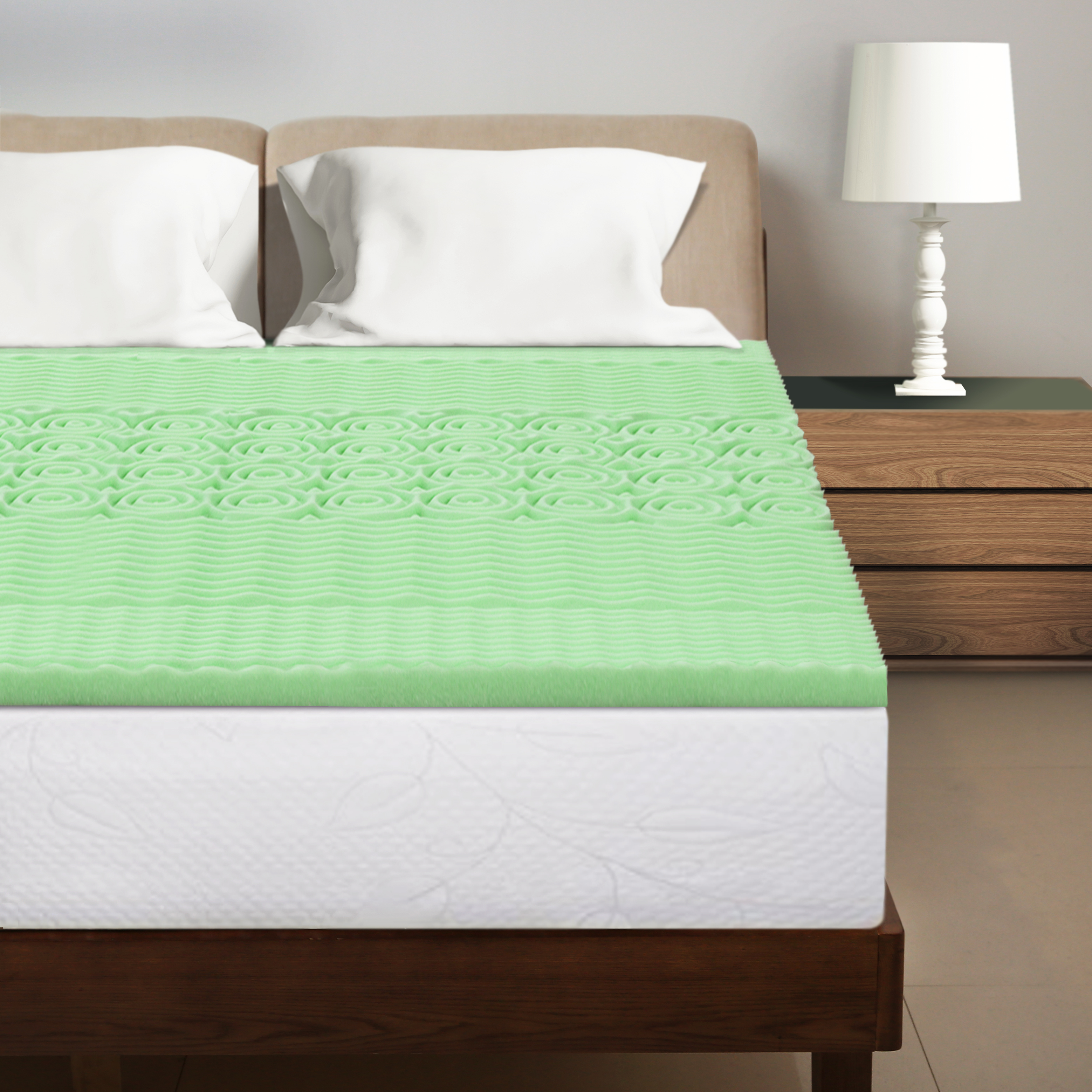 Best Price Mattress 1.5 Inch 5-Zone Memory Foam Bed Topper Aloe Infused Cooling Mattress Pad
