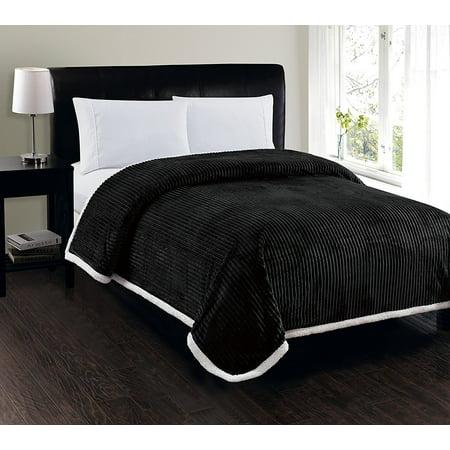 Elegant Comfort Best, Softest, Luxury Micro-Sherpa Blanket Heavy Weight Stripe Design Ultra Plush Blanket, Full/Queen,