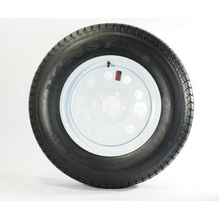 Heavy Duty Trailer Tire On Rim ST205/75D15 205/75-15 LRD 5 Lug White Modular 5 Heavy Duty Steel Tire