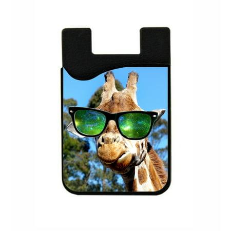 Black Giraffe Skin (Giraffe in Galaxy Glasses -  Stick On Adhesive Black Silicon Card Holder/ Pocket for Cell)
