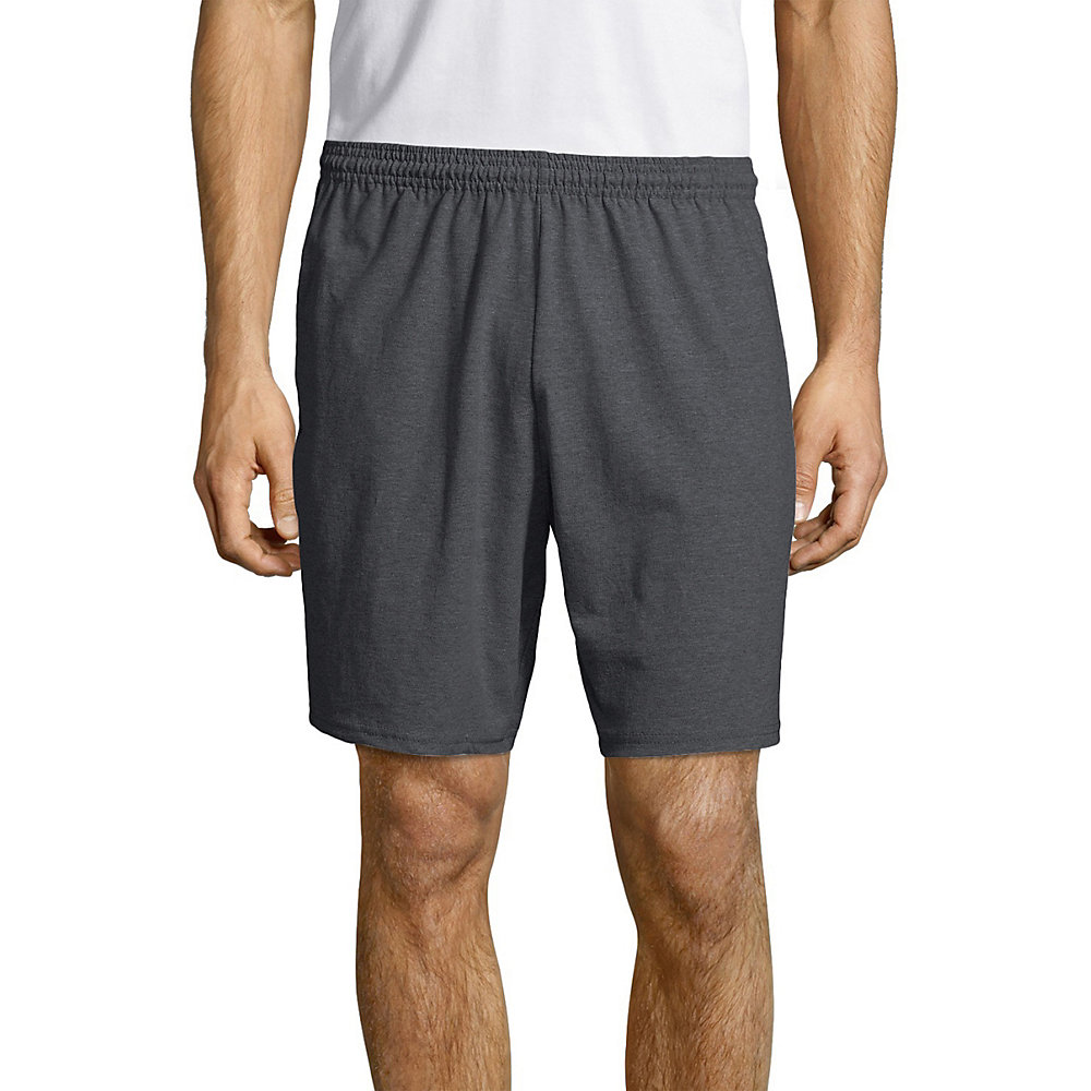 Hanes Men/'s Cotton Jersey Short With Pockets,Charcoal Heather,XLarge