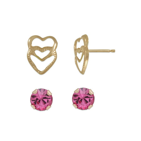 Girls' 14kt Yellow Gold Pink Round CZ and Double Heart Stud Earrings - Double Heart Earrings