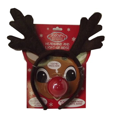 Rudolph the Red Nosed Reindeer Headband with Light Up Nose, Place the light up nose on your nose with an elastic band By Magic