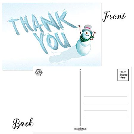 Holiday Thank You Postcards - 4 x 6 Thank You Postcards - 50 Seasonal Christmas Postcards (Christmas Postcard Santa)