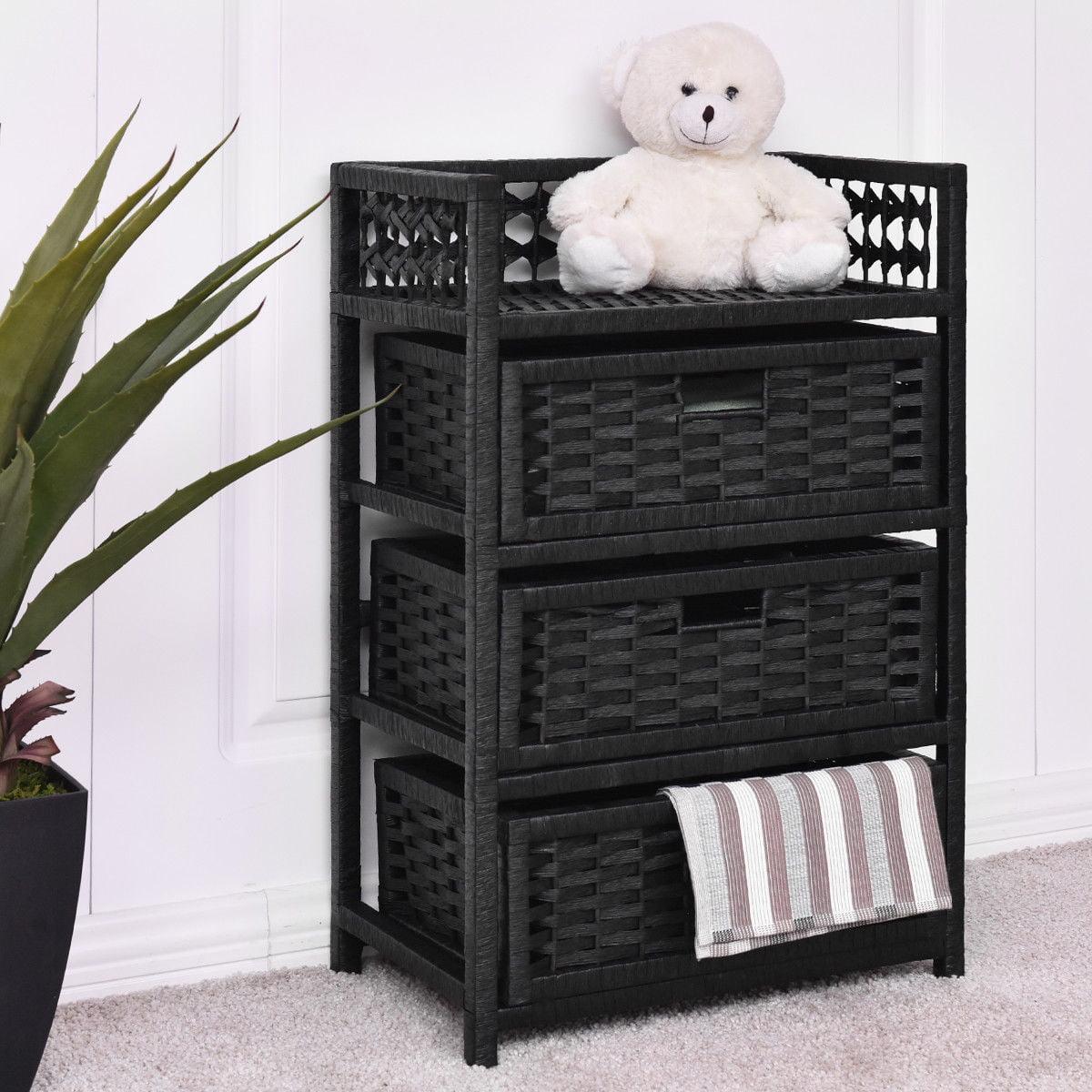 Gymax Storage Chest Tower Shelf 3 Drawer Wicker Baskets Storage Unit Black by Gymax
