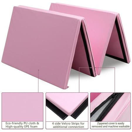 "4'x10'x2"" Gymnastics Mat Thick Folding Panel Aerobics Exercise Gym Pink - image 2 de 7"