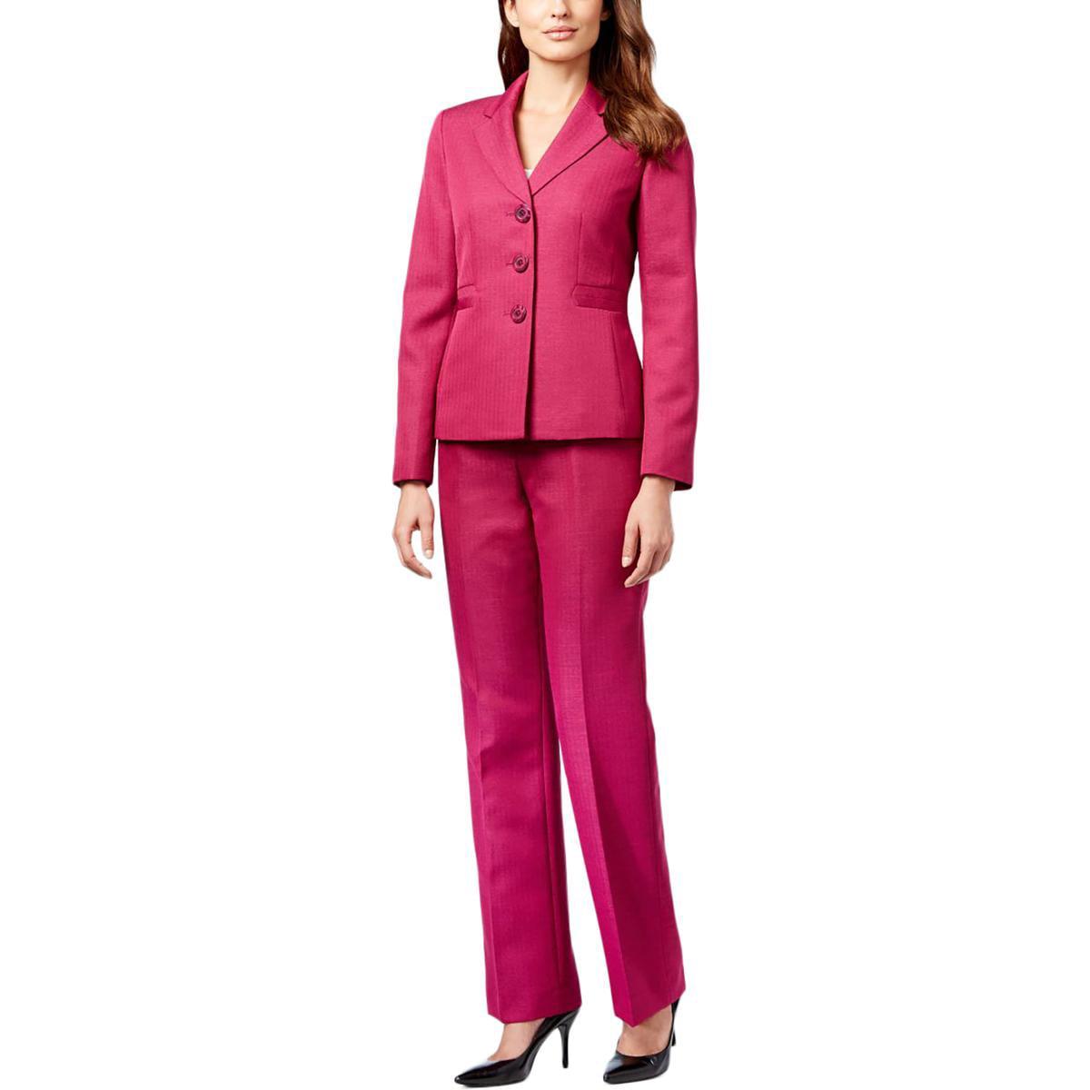 Le Suit Womens Quebec Herringbone Notch Collar Pant Suit