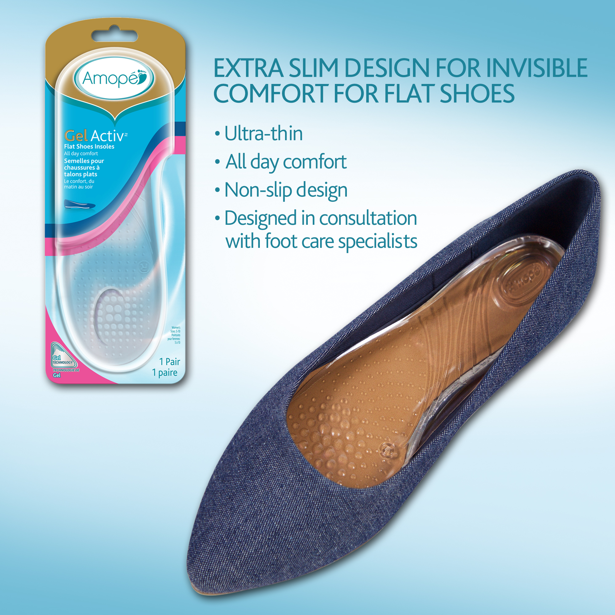 Amope GelActiv Flat Shoes Insoles for