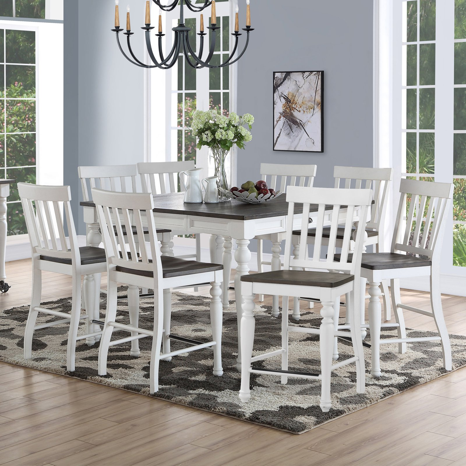 Steve Silver Co. Joanna 9 Piece Transitional Counter Height Dining Set