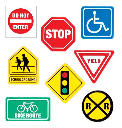 Sandylion Classpak Stickers-Traffic Signs Multi-Colored