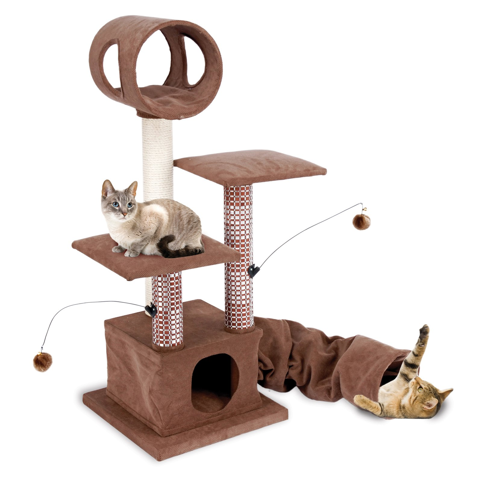 Penn-Plax - Cat Activity Lounging Tower & Tunnel w/Hideaway Retreat