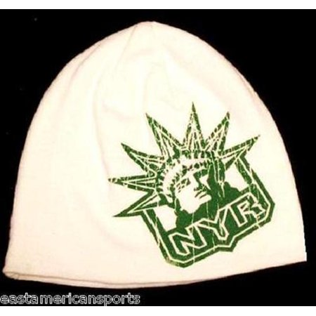 New York Rangers NHL Reebok White Green Knit Hat Cap Irish Shamrock Beanie (New York Rangers Hat Reebok)